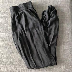 SIMONS, TWIK | black pants with ruching bottom, M